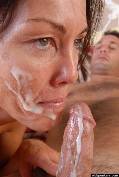 Adult impenetrable Nancy taking cumshot on the top of light after ball licking and blowjob