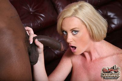 Blonde cougar interracial fuck swell up cumeating
