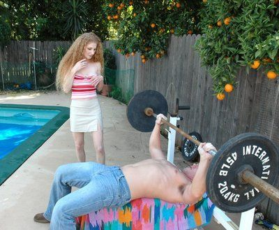 Horn-mad mom with amazing hooters Annie Synod fucking in the backyard