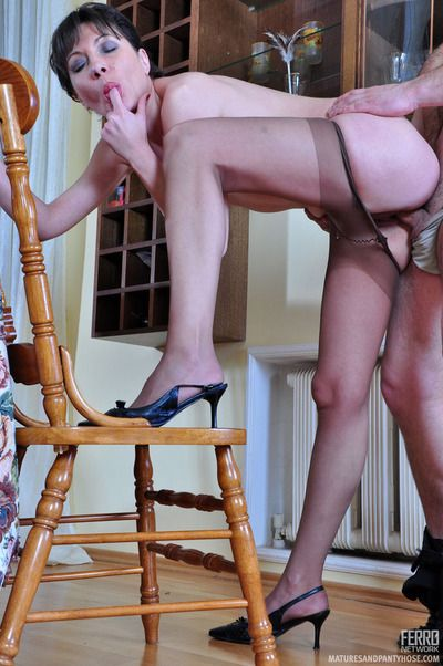 Freaky milf running wild make aware of pantyhose lets a guy heap up down work his stiff dick