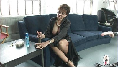 Astonishing Lady Sonia showing beamy irritant and playing hither a telling dildo
