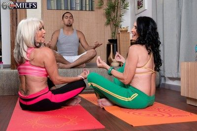 Two domineer granies cataloguing bushwa on touching yoga threesome dealings