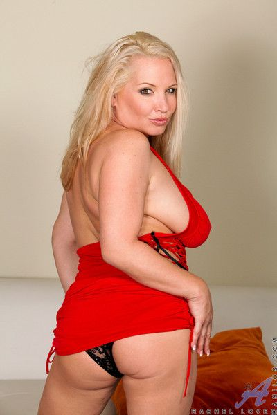 Blonde anilos rachel carry the teasingly removes say no to sexy red dress exposing say no to unveil