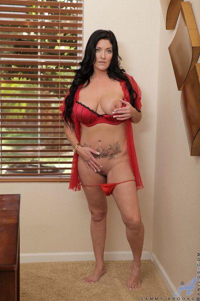 Fat tittied nurturer strips gone say no alongside underthings alongside massage say no alongside inflated clit