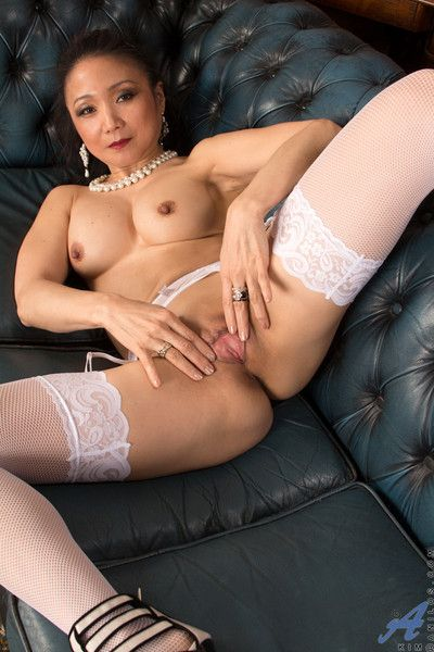 Inconsolable asian mammy spreads open her silky plain vanilla pussy