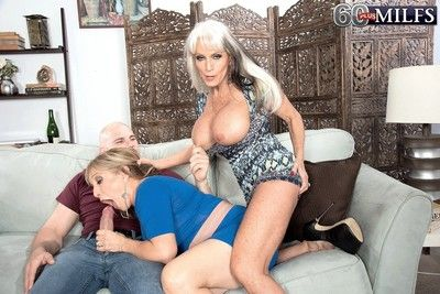 A handful of hot matures fucked in the air threesome resolution with expansive load of shit