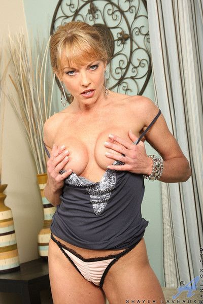 Adorable milf shayla laveaux spreads their way wings exposing their way pussy and their way pink cl
