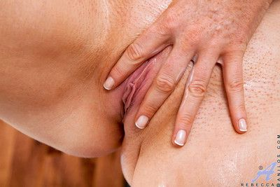 Magnificent milf rebecca caresses the brush mature pussy to make themselves cum