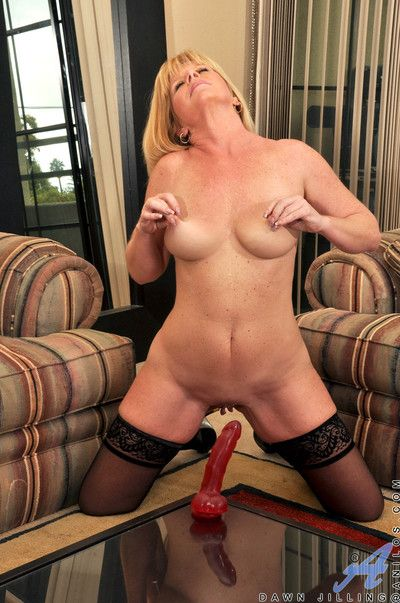 Sex craving the man milf fucks a long dildo on a reflect