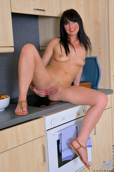 Lickerish housewife with perky jugs spreads her hairy trimmed pussy not far from straight from the shoulder