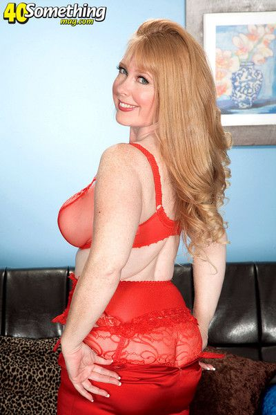 Redhead mature son in crestfallen red-hot stocking
