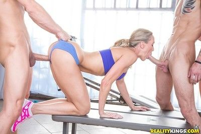 Sexy babes brandi love with an increment of ashley fires fuckes more the gym