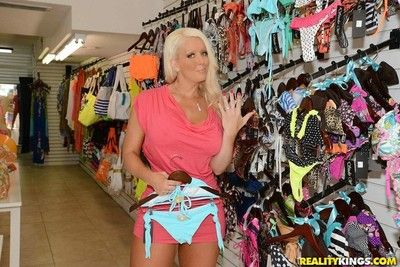 Magnificent white-headed milf fucked after shoping