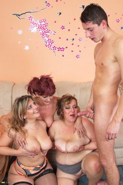 Mature reverse gangbang action with team a few column