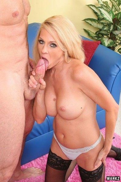 Blonde milf boss angela attison rides a hard penis