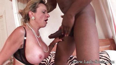 Mature cutie lady sonia in interracial fetish chapter in stockings