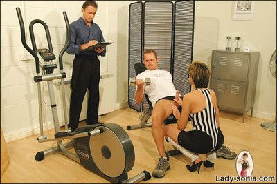 Oddball mature gym mistress lady sonia sucks coupled with fucks