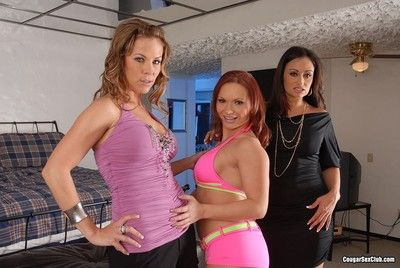 Four hot cougars posing naked
