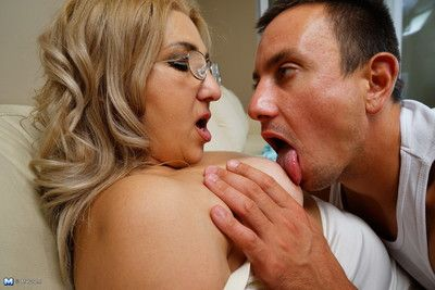 Simmering camp-follower carrying out a naughty chubby housewife