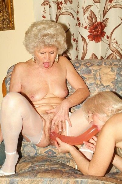 Twosome torrid grannies around hot action