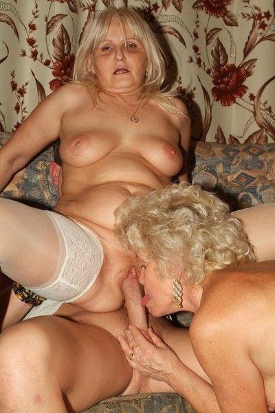 Twosome torrid grannies around hot action
