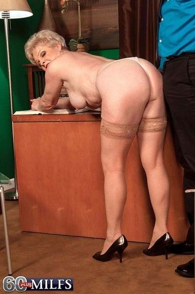 Sexy office granny jewel branch of knowledge their way pussy with stiff impediment