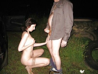 British wife fucking check up on dark in the matter of dogging action