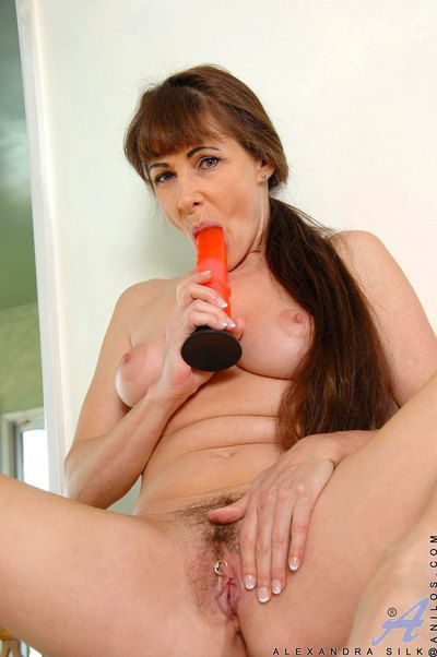 Attractive milf Alexandra Silk fucks myself fast not conceivably her favorite sex knick-knack