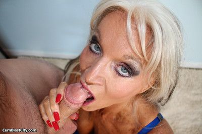 Lickerish milf sally dangelo stroking big dick