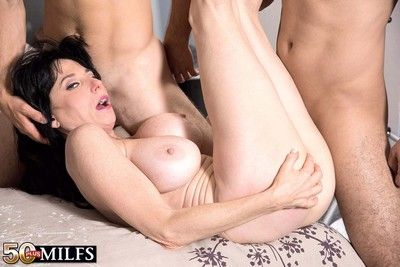 Milf karen kougar is geting twosome weighty cocks in fuck