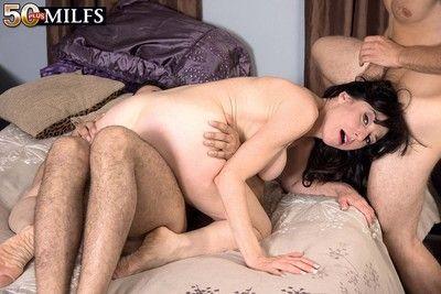 Milf karen kougar is geting twosome weighty cocks in fuck