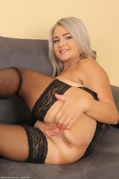 Blonde adult spreads in all directions stockings