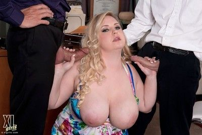 Chubby bazaar nikky wilder takes duo cocks less triptych