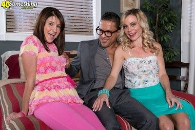Mature added to young virgin strive sexual connection in threesome