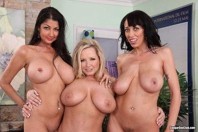 Busty mature pornstars posing naked