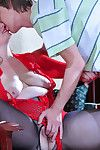 Ripe-bodied mom gets her blue seamed pantyhose showered involving cum report register a lady-love