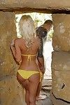 Hot petite gilded milf in front strand X-rated diet yellowe bikini