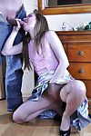 Long-legged of age chick to full sway acme belt up gets banged with the brush knees upwards
