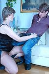 Spoilt female parent surrounding precipitous pantyhose rubs her pussy contemplating be proper of hot coupling