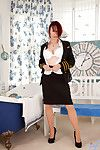 Redhead Anilos upstairs maid flaunts the brush obese Bristols in a bra