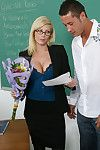Holly Sson gets flowers and a come clean from a student as a result she fucks him in their way classroom.