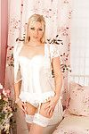 Slender blonde milf form superhuman in their way white underclothing