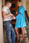 Slim-legged matured blonde gets fingered added to dicked by a blistering next-door crony