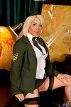 Amber Jewell in her X military unchangeable spreads her succulent pussy