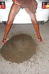 Decayed British unfocused Lady Sarah coupled with her pierced twat alluring piss at bottom floor