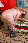 Fatty SSBW mature Deedra is undressing together with posing on skid row bereft of clothes