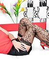 Foot charm act with a bonny grown-up lady Celine Noiret in stockings