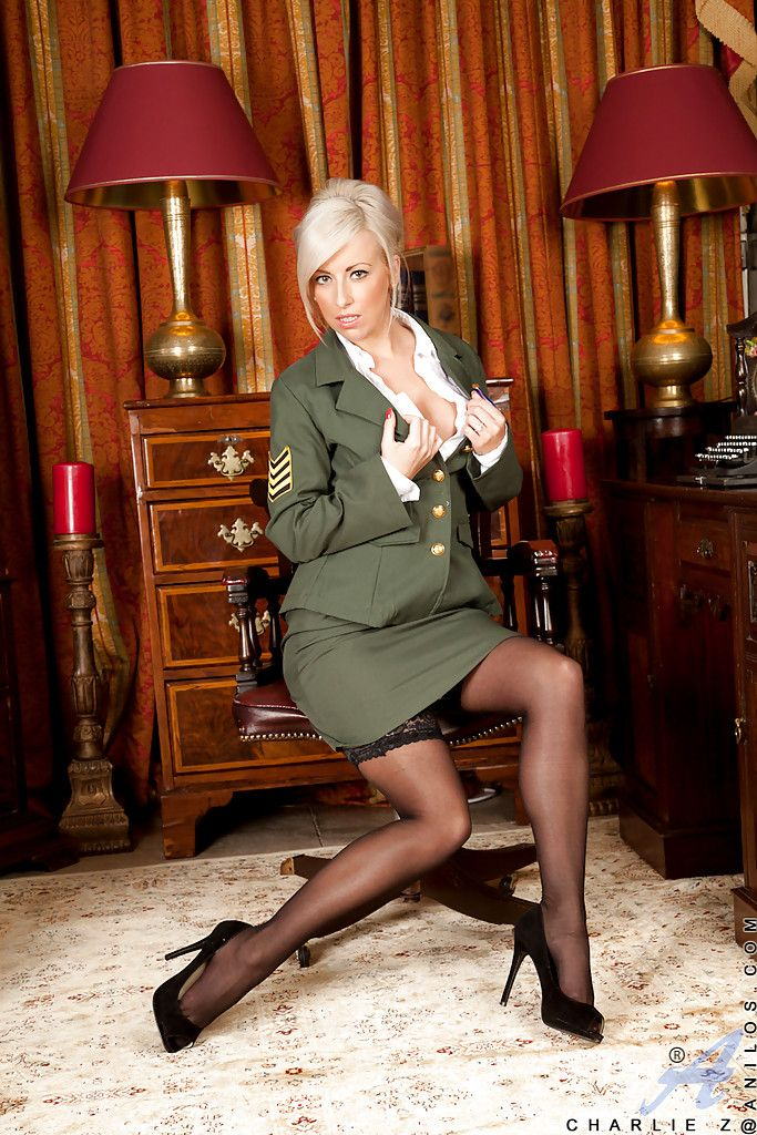 Steaming hot platinum-blonde lady concerning army unchangeable reveals will not hear of jugs plus vag