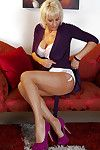 Comely mature flaxen-haired Jan shows retire from their way dear feet in the matter of stockings