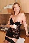Fuckable adult lassie in stockings Laura Throb banditry off her underwear